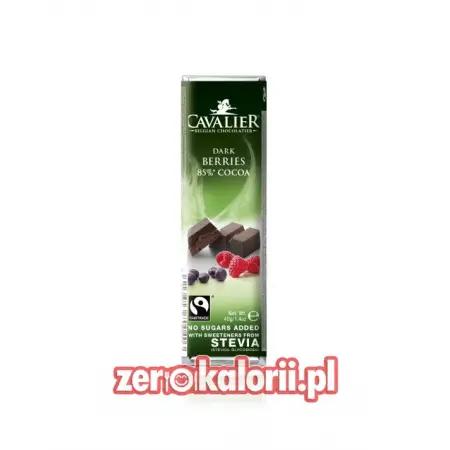 Baton z czekolady Owoce Leśne, BEZ CUKRU 40g Cavalier