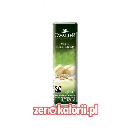 Baton z białej czekolady z chrupkami ryżowymi BEZ CUKRU, 40g Cavalier
