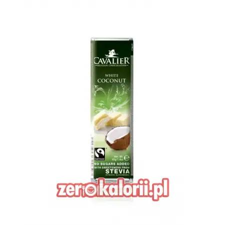 Baton z białej czekolady z nadzieniem kokosowym BEZ CUKRU, 40g Cavalier