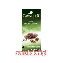 Czekolada mleczna z orzechami laskowymi słodzona stewią, BEZ CUKRU 85g Cavalier