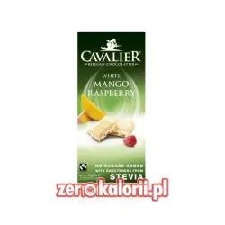 Czekolada 12. czekolada biała z mango i malinami słodzona słodzona stewią, BEZ CUKRU 85g Cavalier