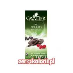 Czekolada ciemna 85% z owocami leśnymi słodzona słodzona stewią, BEZ CUKRU 85g Cavalier