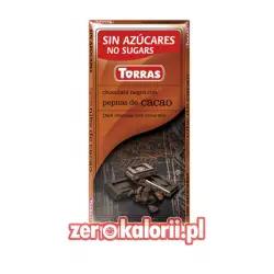 Czekolada gorzka z ziarnami kakao BEZ CUKRU ze stewią Torras 75g