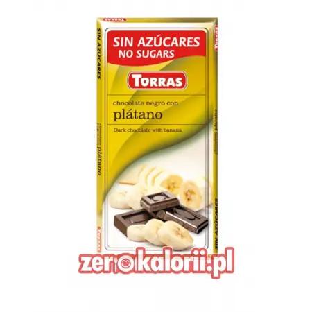 Czekolada gorzka z bananami BEZ CUKRU ze stewią Torras 75g