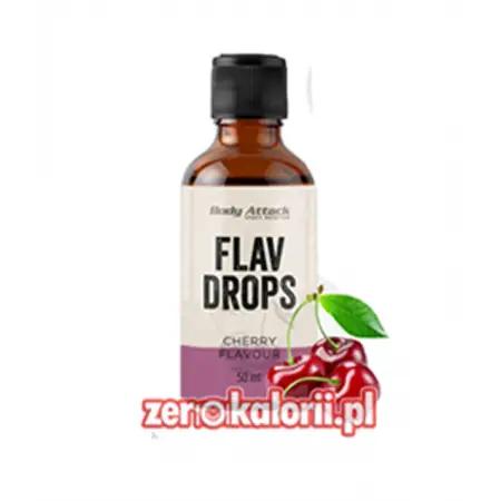Aromat Flav Drops Wiśnia 50ml, Body Attack Bez Cukru i Tłuszczu