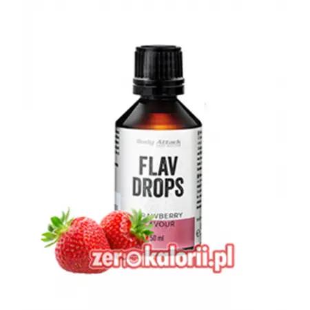 Aromat Flav Drops Truskawka 50ml, Body Attack Bez Cukru i Tłuszczu