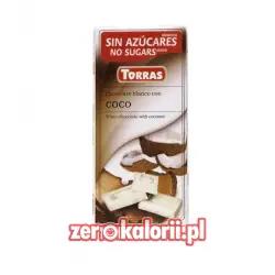 Czekolada biała z Kokosem BEZ CUKRU ze stewią Torras 75g