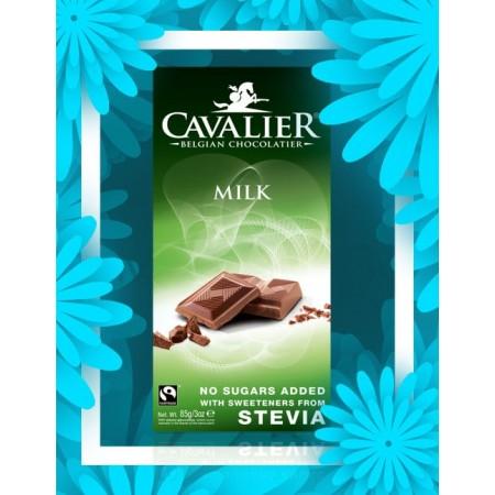 Czekolada mleczna słodzona stewią, BEZ CUKRU 85g Cavalier