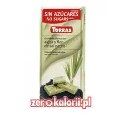 Czekolada biała z algami i czarną solą morską BEZ CUKRU ze stewią Torras 75g