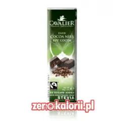 Baton z czekolady z ziarnami kakaowca BEZ CUKRU, 40g Cavalier