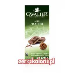 Czekolada mleczna z nadzieniem pralinowym słodzona stewią, BEZ CUKRU 85g Cavalier