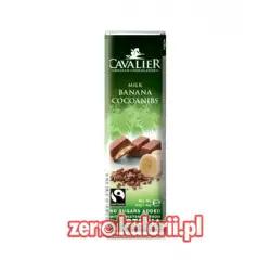 Baton z czekolady z bananami BEZ CUKRU, 40g Cavalier